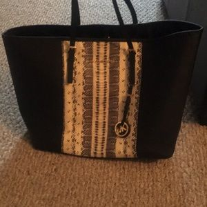 Michael Kors tote with snake skin detail